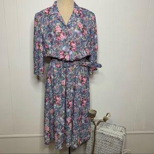 Vintage 70s 80s Floral Blouson Secretary Day Dress